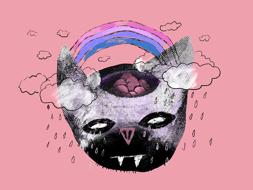 Rainbow Bat Head Illustration