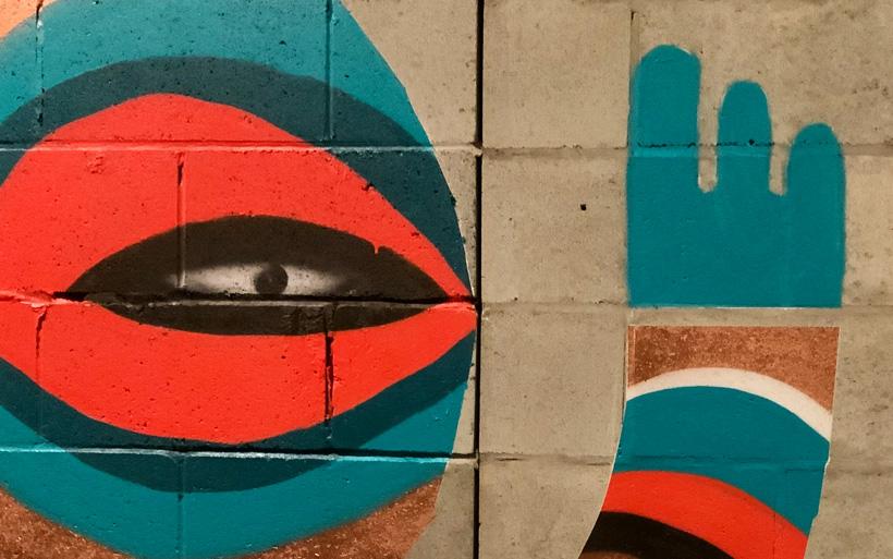 detail of street art eye
