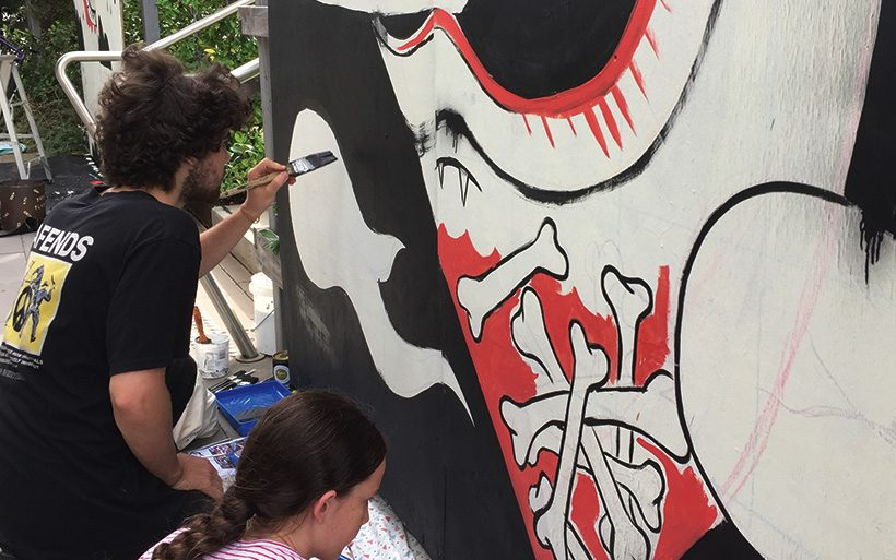 Student street artist in Canberra