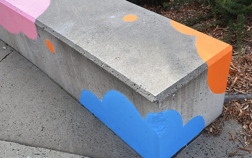 concrete seating with painted graphics