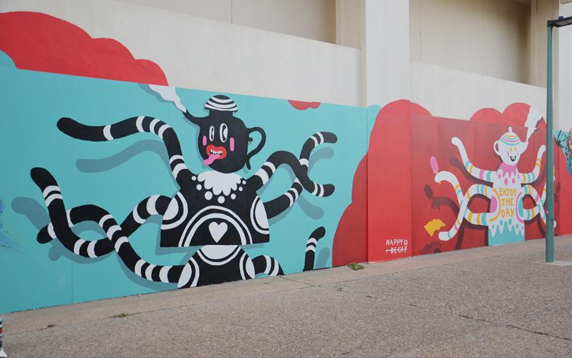 two wall murals woden