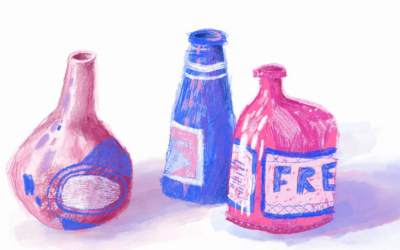 glass bottle drawings