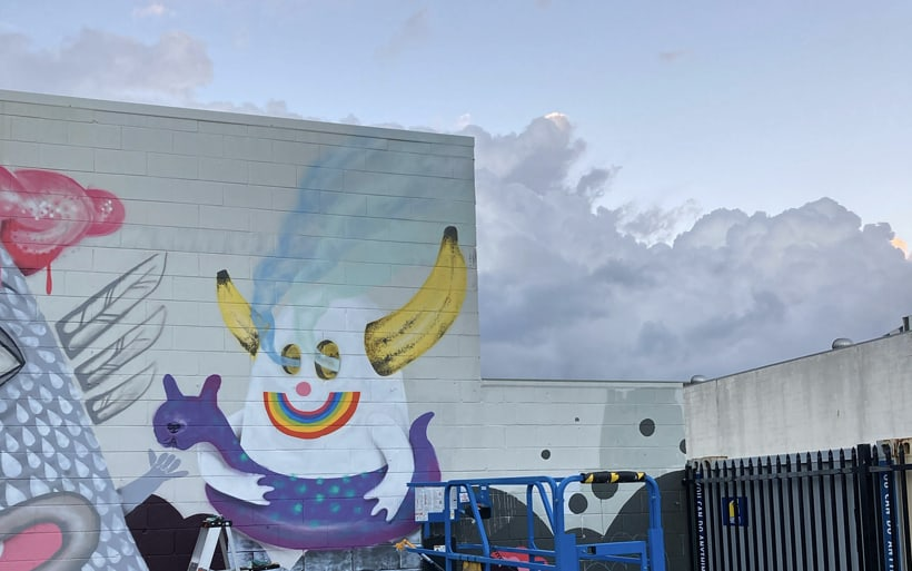 clouds and mural