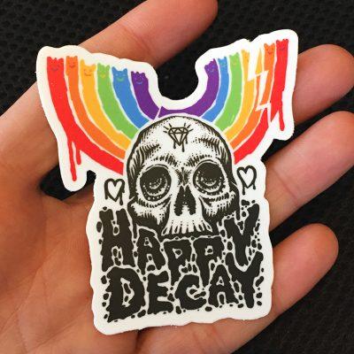 happy decay logo sticker