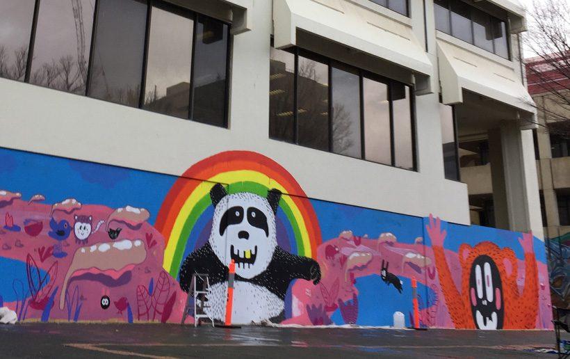 Woden mural