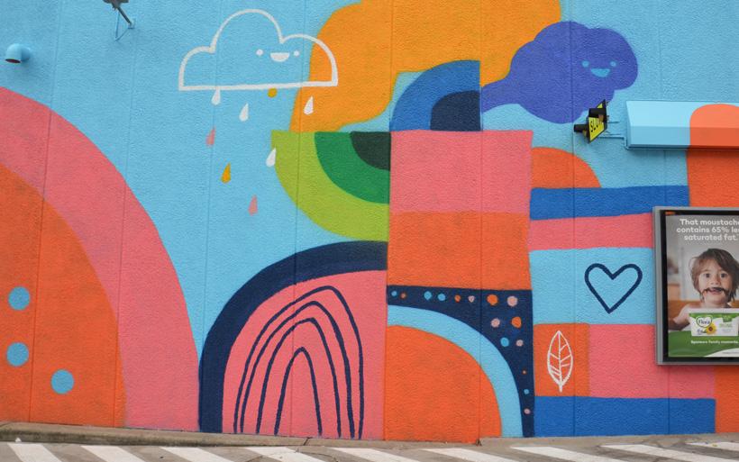 happy cloud mural