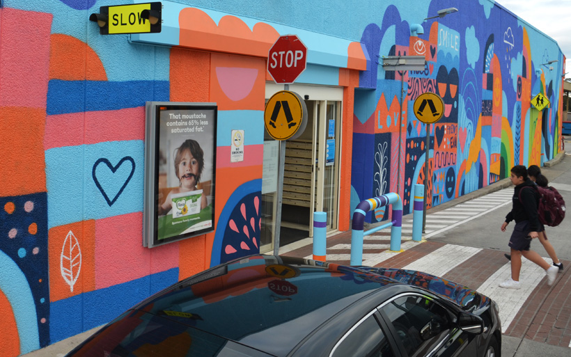 colourful mural entrance