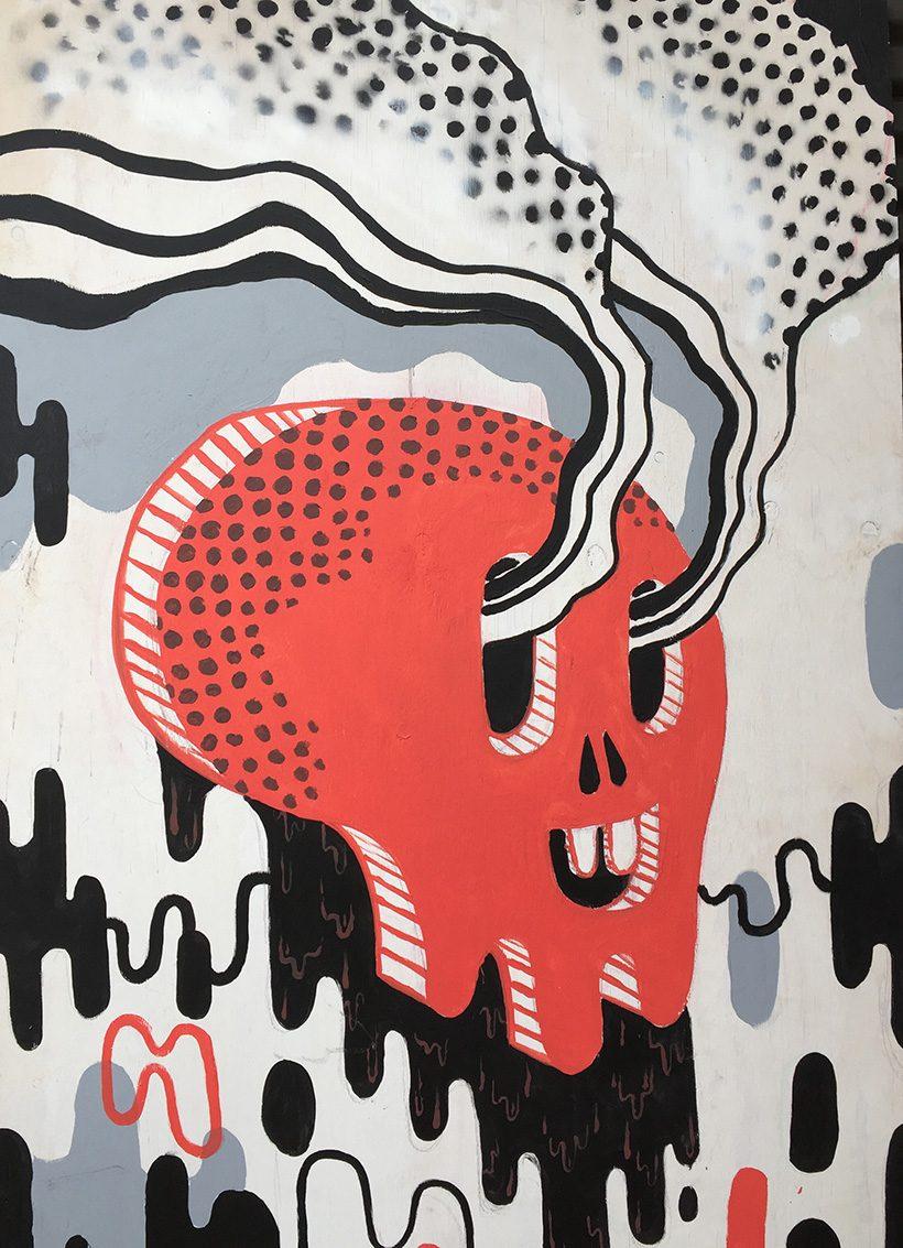 mural painting of skull