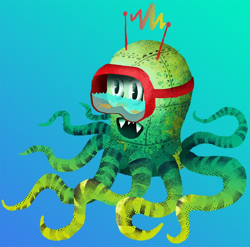 octopus robot drawing