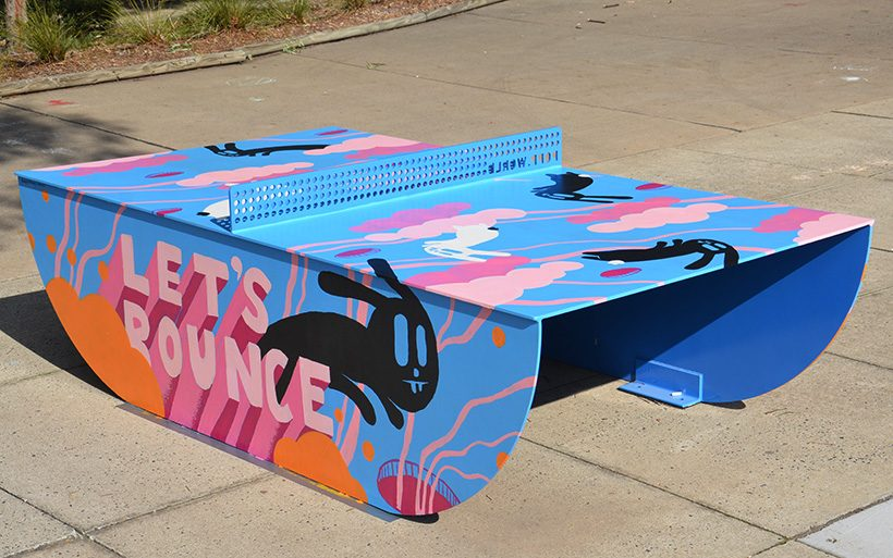 ping pong table with rabit street art