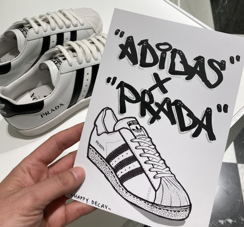 adidas and prada sneaker illustration