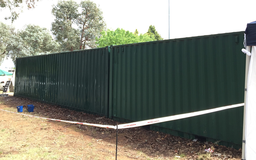 prepare for mural on shipping container