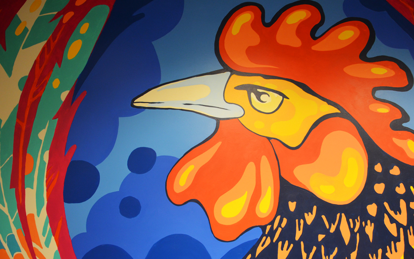 detail of rooster mural