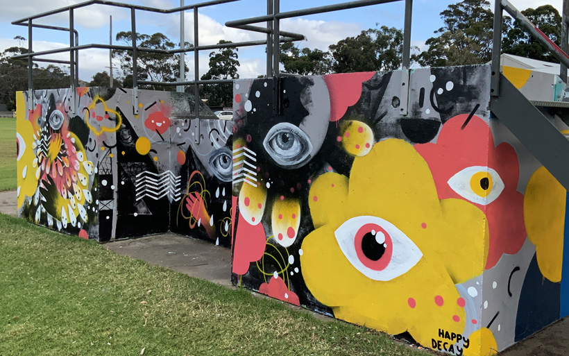 Close up of street art at the skate park