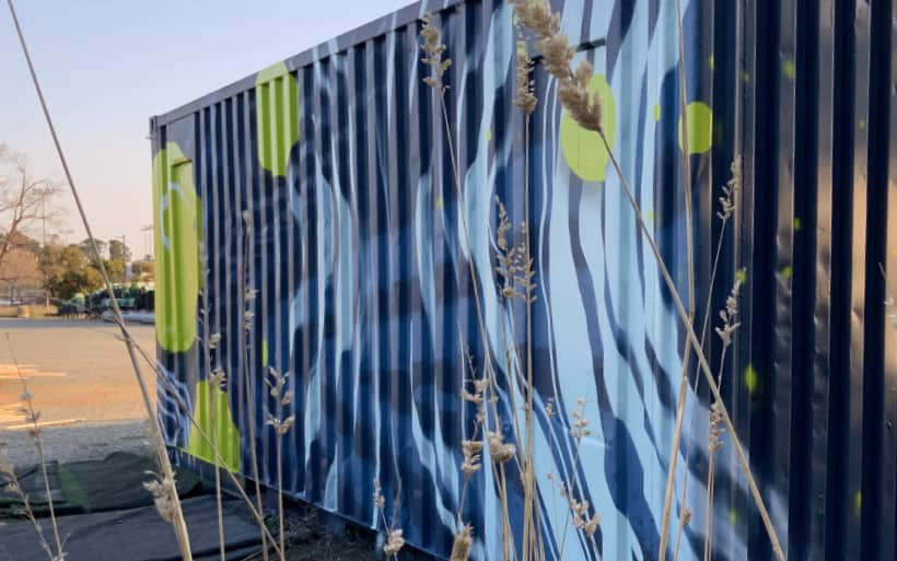 shipping container mural