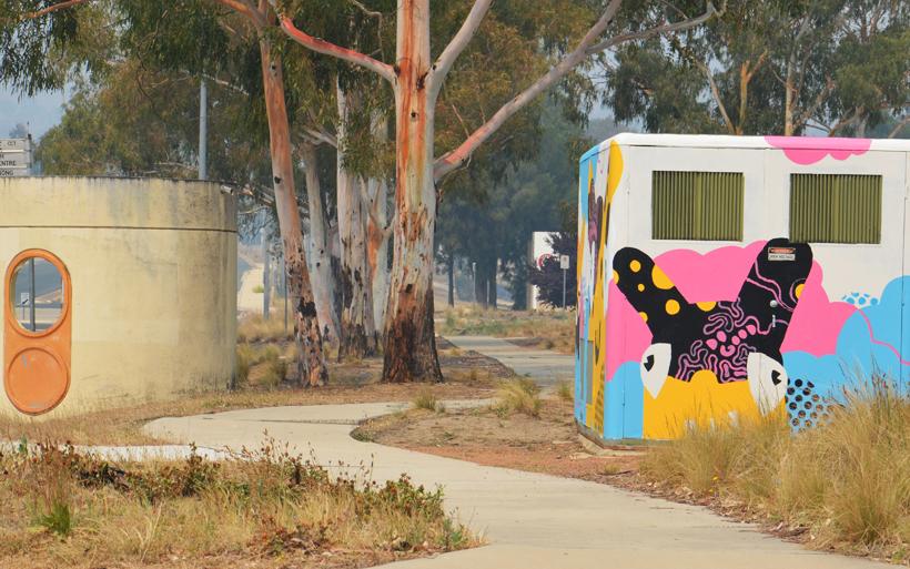 street scene and mural