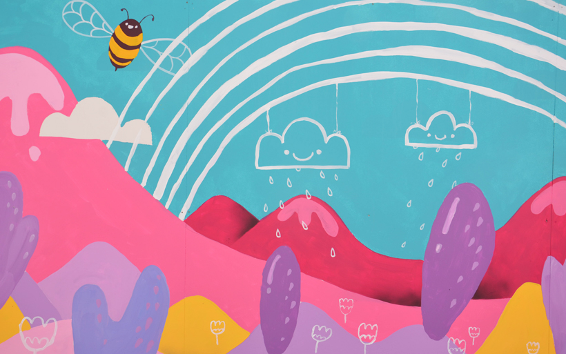 happy rain clouds mural