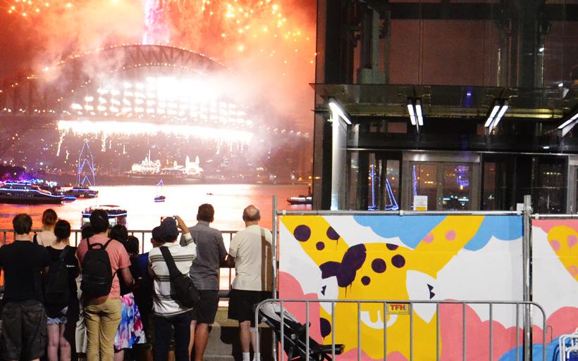 sydney fireworks mural
