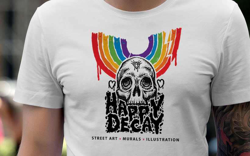 t-shirt design happy decay