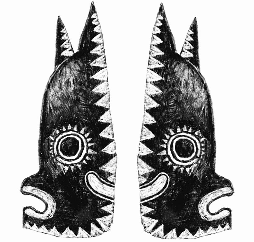 tribal mask for mural